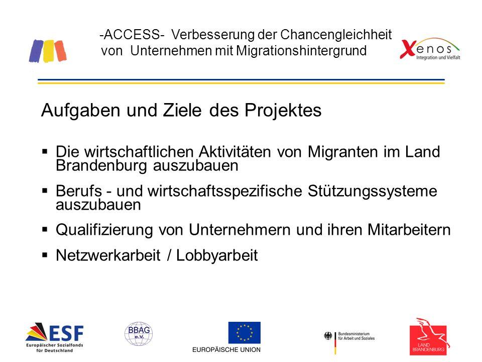 -ACCESS- Verbesserung der Chancengleichheit von Unternehmen mit Migrationshintergrund Aufgaben und Ziele des Projektes Die wirtschaftlichen Aktivitäten von Migranten im Land Brandenburg auszubauen Berufs - und wirtschaftsspezifische Stützungssysteme auszubauen Qualifizierung von Unternehmern und ihren Mitarbeitern Netzwerkarbeit / Lobbyarbeit