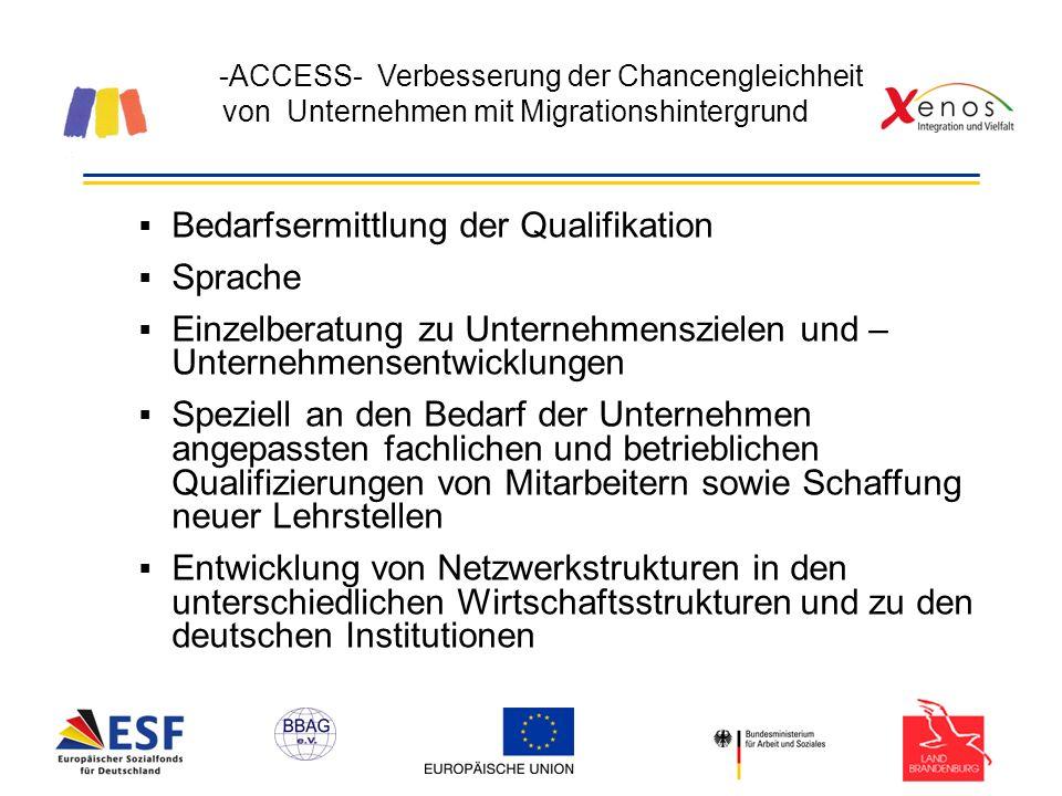 -ACCESS- Verbesserung der Chancengleichheit von Unternehmen mit Migrationshintergrund Bedarfsermittlung der Qualifikation Sprache Einzelberatung zu Unternehmenszielen und – Unternehmensentwicklungen Speziell an den Bedarf der Unternehmen angepassten fachlichen und betrieblichen Qualifizierungen von Mitarbeitern sowie Schaffung neuer Lehrstellen Entwicklung von Netzwerkstrukturen in den unterschiedlichen Wirtschaftsstrukturen und zu den deutschen Institutionen