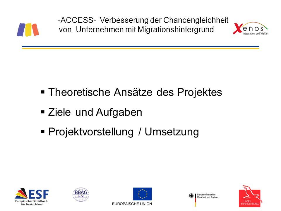 -ACCESS- Verbesserung der Chancengleichheit von Unternehmen mit Migrationshintergrund Theoretische Ansätze des Projektes Ziele und Aufgaben Projektvorstellung / Umsetzung