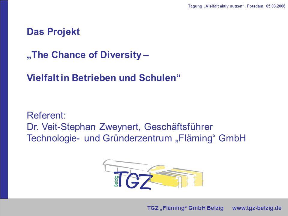 Tagung Vielfalt aktiv nutzen, Potsdam, 05.03.2008 TGZ Fläming GmbH Belzig www.tgz-belzig.de Das Projekt The Chance of Diversity – Vielfalt in Betriebe