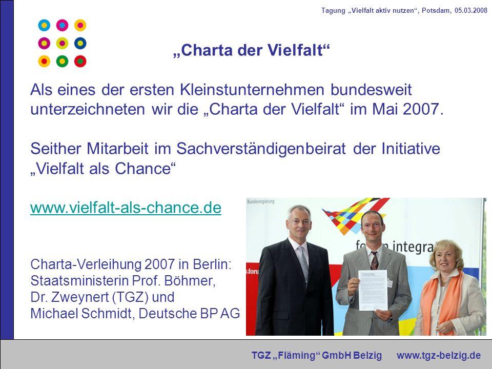Tagung Vielfalt aktiv nutzen, Potsdam, 05.03.2008 TGZ Fläming GmbH Belzig www.tgz-belzig.de Charta der Vielfalt Als eines der ersten Kleinstunternehme