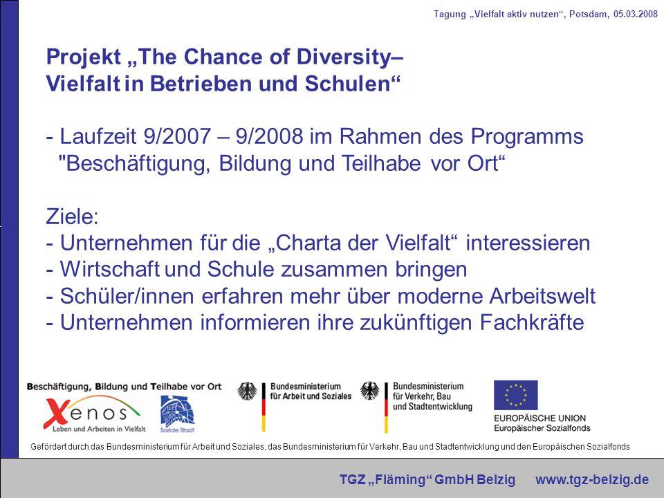Tagung Vielfalt aktiv nutzen, Potsdam, 05.03.2008 TGZ Fläming GmbH Belzig www.tgz-belzig.de Projekt The Chance of Diversity– Vielfalt in Betrieben und