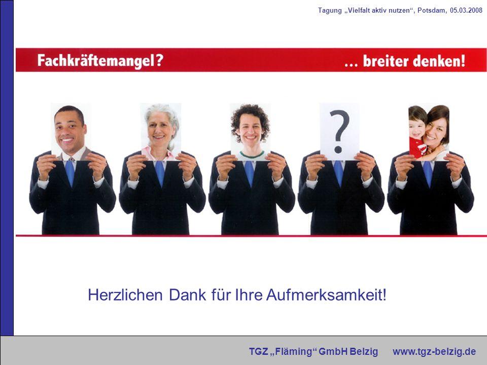 Tagung Vielfalt aktiv nutzen, Potsdam, 05.03.2008 TGZ Fläming GmbH Belzig www.tgz-belzig.de Herzlichen Dank für Ihre Aufmerksamkeit!
