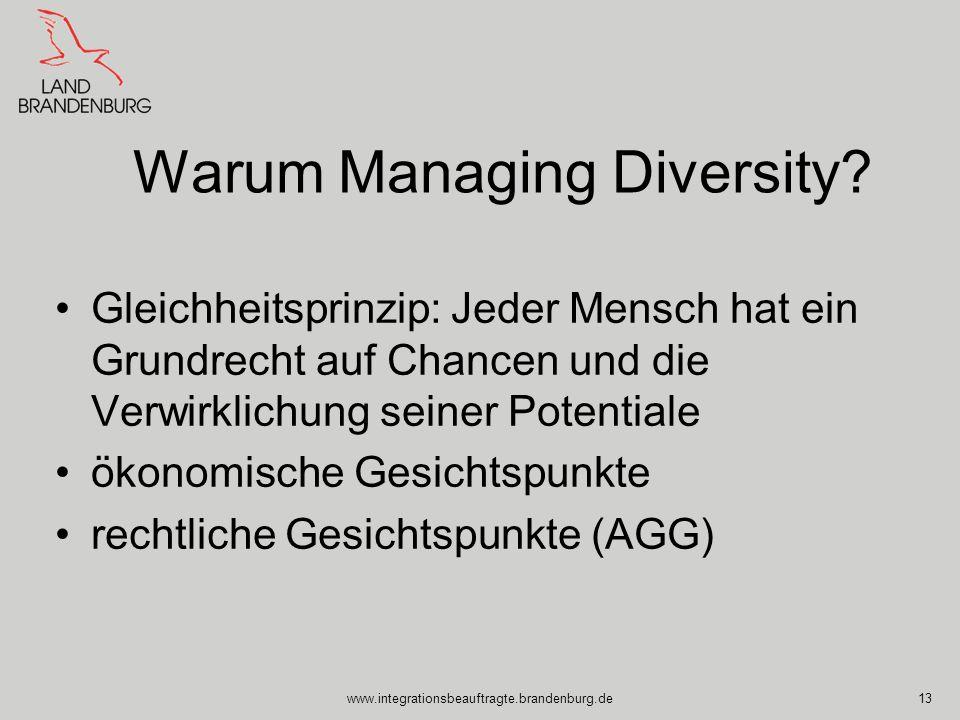 www.integrationsbeauftragte.brandenburg.de13 Warum Managing Diversity? Gleichheitsprinzip: Jeder Mensch hat ein Grundrecht auf Chancen und die Verwirk