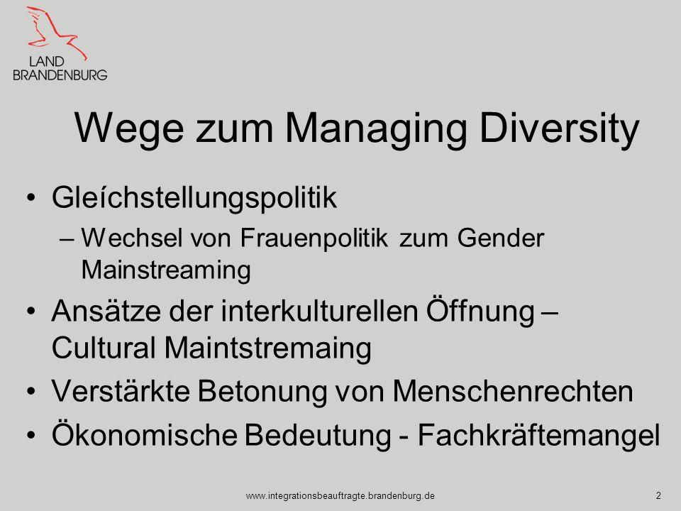 www.integrationsbeauftragte.brandenburg.de2 Wege zum Managing Diversity Gleíchstellungspolitik –Wechsel von Frauenpolitik zum Gender Mainstreaming Ans
