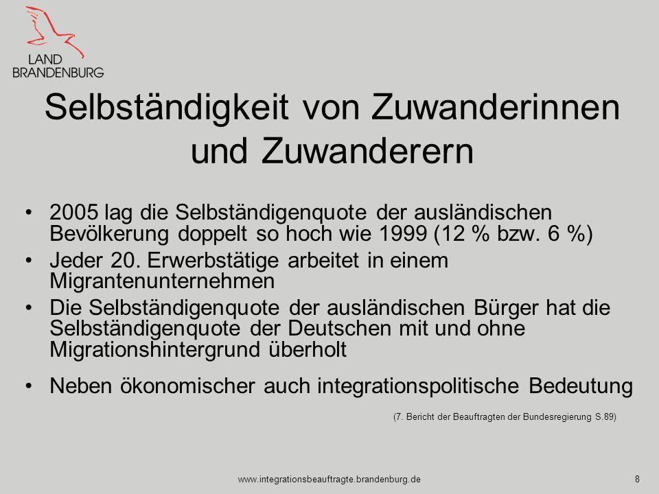 www.integrationsbeauftragte.brandenburg.de8 Selbständigkeit von Zuwanderinnen und Zuwanderern 2005 lag die Selbständigenquote der ausländischen Bevölk