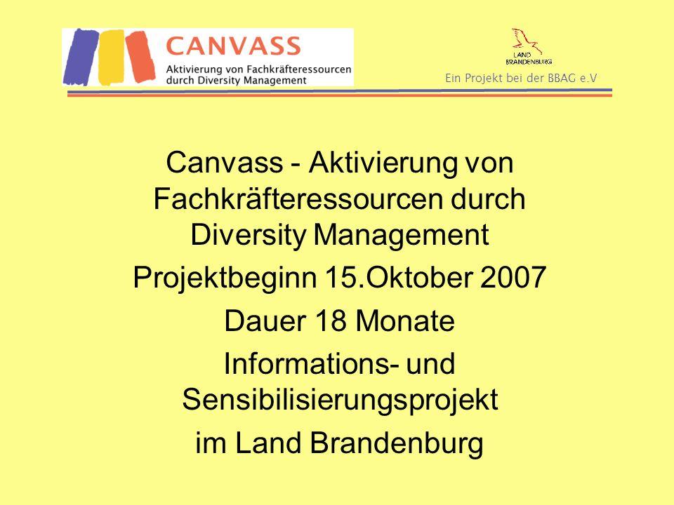 Ein Projekt bei der BBAG e.V Canvass - Aktivierung von Fachkräfteressourcen durch Diversity Management Projektbeginn 15.Oktober 2007 Dauer 18 Monate I