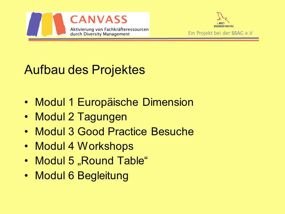 Ein Projekt bei der BBAG e.V Aufbau des Projektes Modul 1 Europäische Dimension Modul 2 Tagungen Modul 3 Good Practice Besuche Modul 4 Workshops Modul