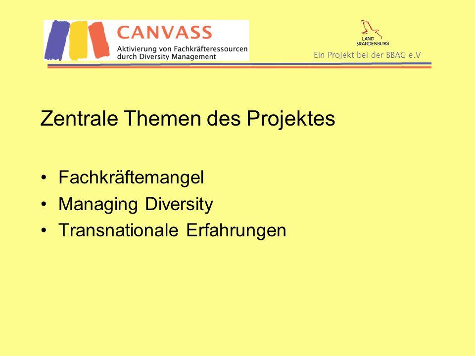 Ein Projekt bei der BBAG e.V Zentrale Themen des Projektes Fachkräftemangel Managing Diversity Transnationale Erfahrungen