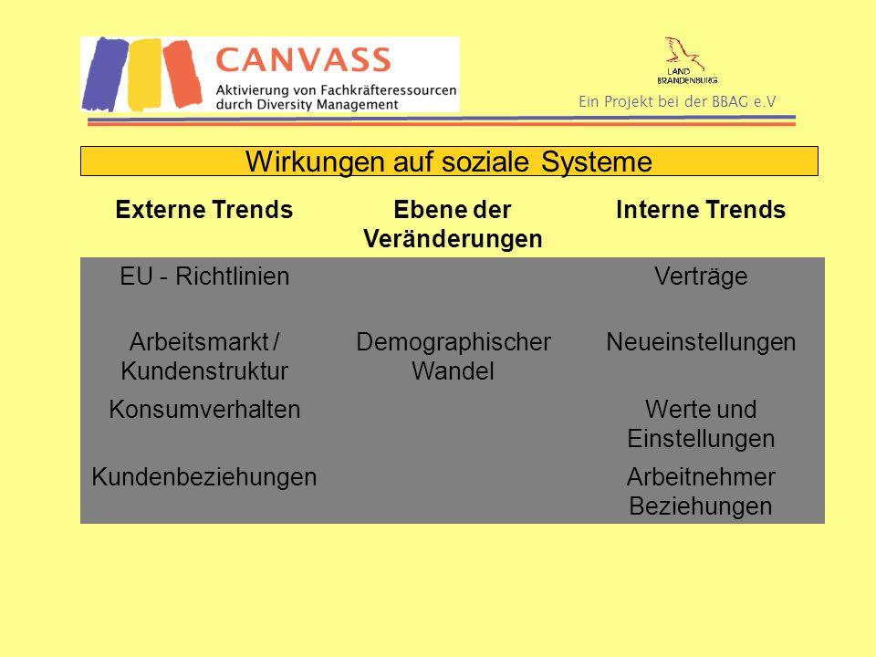 Ein Projekt bei der BBAG e.V Externe TrendsEbene der Veränderungen Interne Trends EU - RichtlinienVerträge Arbeitsmarkt / Kundenstruktur Demographisch
