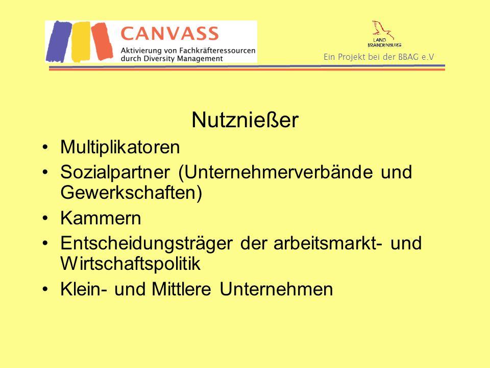 Ein Projekt bei der BBAG e.V Nutznießer Multiplikatoren Sozialpartner (Unternehmerverbände und Gewerkschaften) Kammern Entscheidungsträger der arbeits