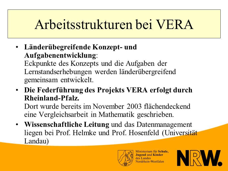 Arbeitsstrukturen bei VERA Länderübegreifende Konzept- und Aufgabenentwicklung: Eckpunkte des Konzepts und die Aufgaben der Lernstandserhebungen werden länderübergreifend gemeinsam entwickelt.