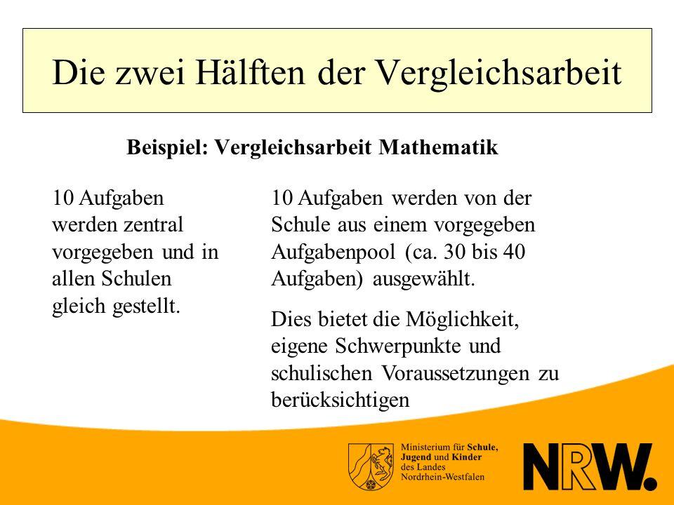 Die zwei Hälften der Vergleichsarbeit Beispiel: Vergleichsarbeit Mathematik 10 Aufgaben werden zentral vorgegeben und in allen Schulen gleich gestellt.