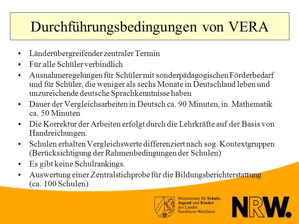 Durchführungsbedingungen von VERA Länderübergreifender zentraler Termin Für alle Schüler verbindlich Ausnahmeregelungen für Schüler mit sonderpädagogischen Förderbedarf und für Schüler, die weniger als sechs Monate in Deutschland leben und unzureichende deutsche Sprachkenntnisse haben Dauer der Vergleichsarbeiten in Deutsch ca.