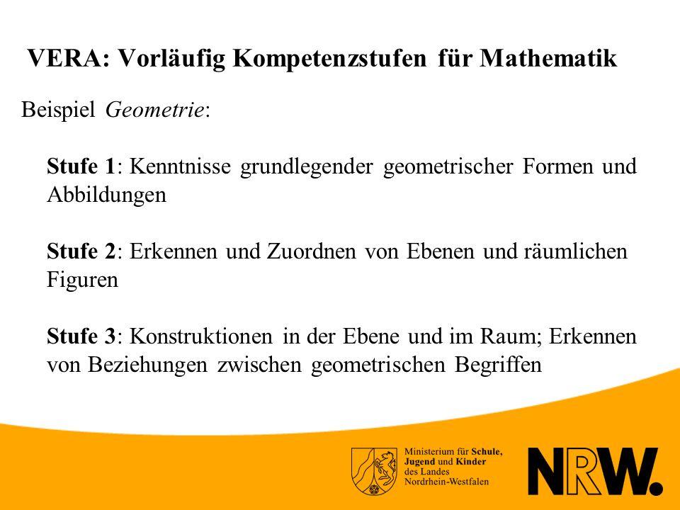 VERA: Vorläufig Kompetenzstufen für Mathematik Beispiel Geometrie: Stufe 1: Kenntnisse grundlegender geometrischer Formen und Abbildungen Stufe 2: Erkennen und Zuordnen von Ebenen und räumlichen Figuren Stufe 3: Konstruktionen in der Ebene und im Raum; Erkennen von Beziehungen zwischen geometrischen Begriffen