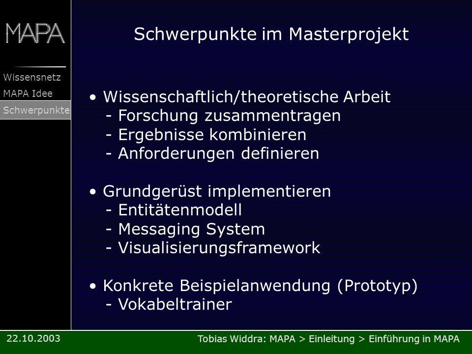 Tobias Widdra: MAPA > Einleitung > Einführung in MAPA Wissensnetz MAPA Idee Schwerpunkte 22.10.2003 Schwerpunkte im Masterprojekt Wissenschaftlich/the