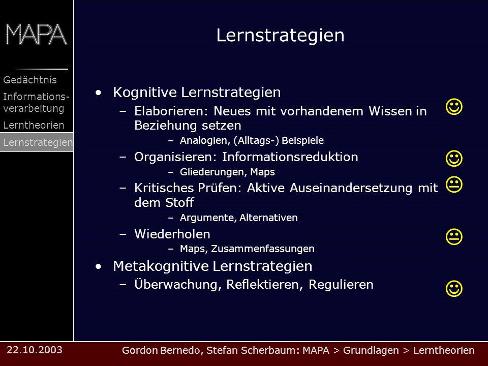 Gordon Bernedo, Stefan Scherbaum: MAPA > Grundlagen > Lerntheorien Gedächtnis Informations- verarbeitung Lerntheorien Lernstrategien 22.10.2003 Lernst