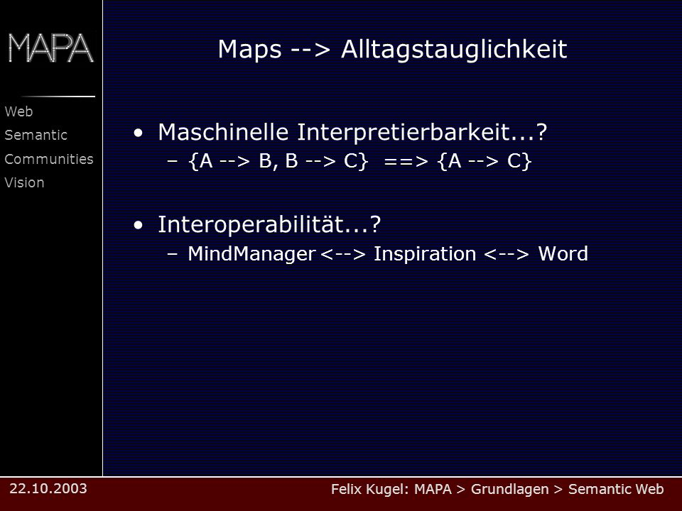 Felix Kugel: MAPA > Grundlagen > Semantic Web Web Semantic Communities Vision 22.10.2003 Maps --> Alltagstauglichkeit Maschinelle Interpretierbarkeit.