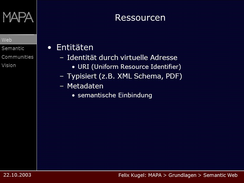 Felix Kugel: MAPA > Grundlagen > Semantic Web Web Semantic Communities Vision 22.10.2003 Ressourcen Entitäten –Identität durch virtuelle Adresse URI (Uniform Resource Identifier) –Typisiert (z.B.