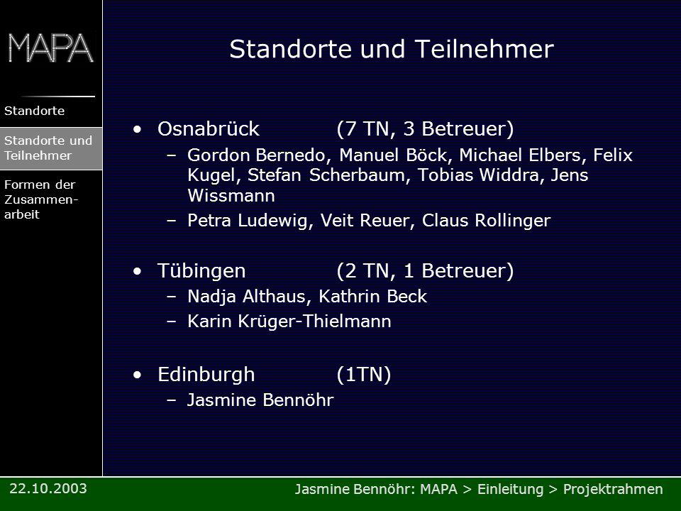 Jasmine Bennöhr: MAPA > Einleitung > Projektrahmen Standorte Standorte und Teilnehmer Formen der Zusammen- arbeit 22.10.2003 Standorte und Teilnehmer