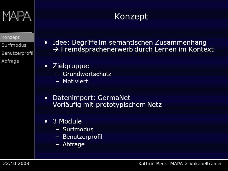 Kathrin Beck: MAPA > Vokabeltrainer Konzept Surfmodus Benutzerprofil Abfrage 22.10.2003 Konzept Idee: Begriffe im semantischen Zusammenhang Fremdsprac