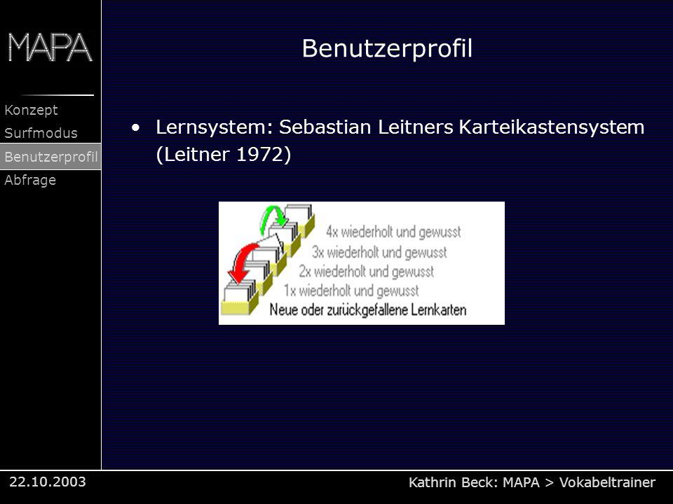 Kathrin Beck: MAPA > Vokabeltrainer Konzept Surfmodus Benutzerprofil Abfrage 22.10.2003 Benutzerprofil Lernsystem: Sebastian Leitners Karteikastensyst