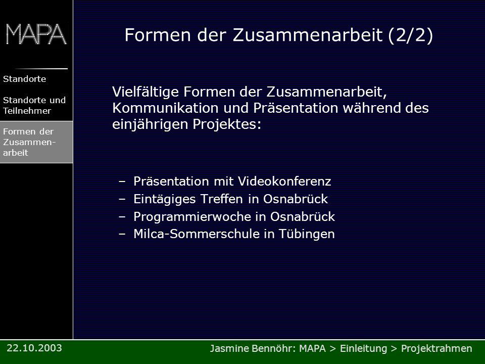 Jasmine Bennöhr: MAPA > Einleitung > Projektrahmen Standorte Standorte und Teilnehmer Formen der Zusammen- arbeit 22.10.2003 Formen der Zusammenarbeit
