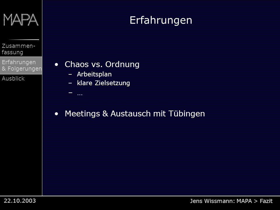 Jens Wissmann: MAPA > Fazit Zusammen- fassung Erfahrungen & Folgerungen Ausblick 22.10.2003 Erfahrungen Chaos vs. Ordnung –Arbeitsplan –klare Zielsetz