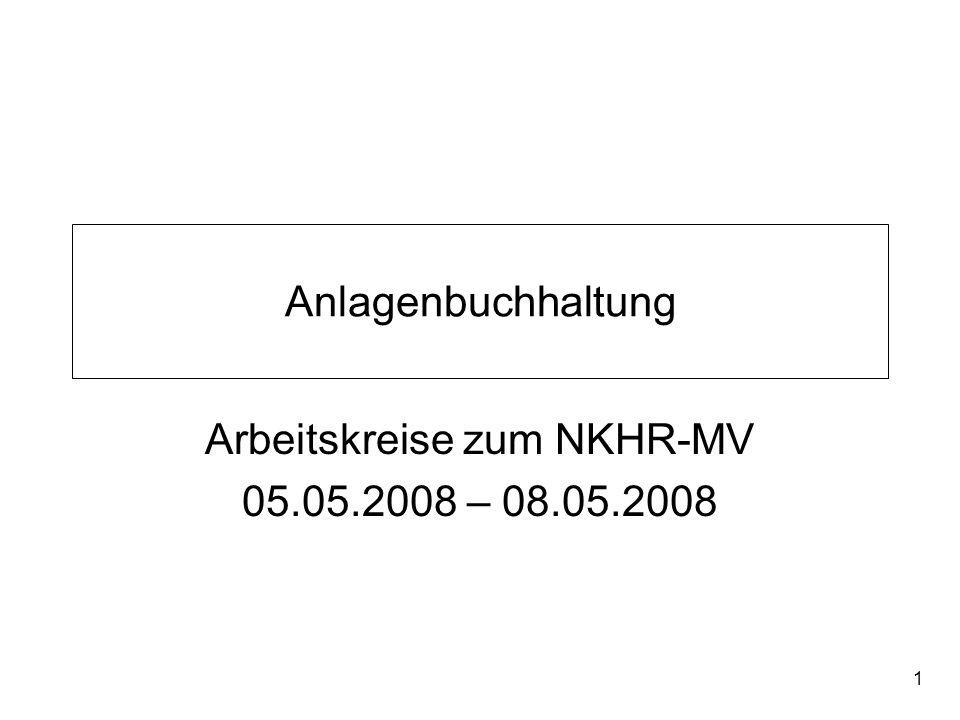 1 Anlagenbuchhaltung Arbeitskreise zum NKHR-MV 05.05.2008 – 08.05.2008