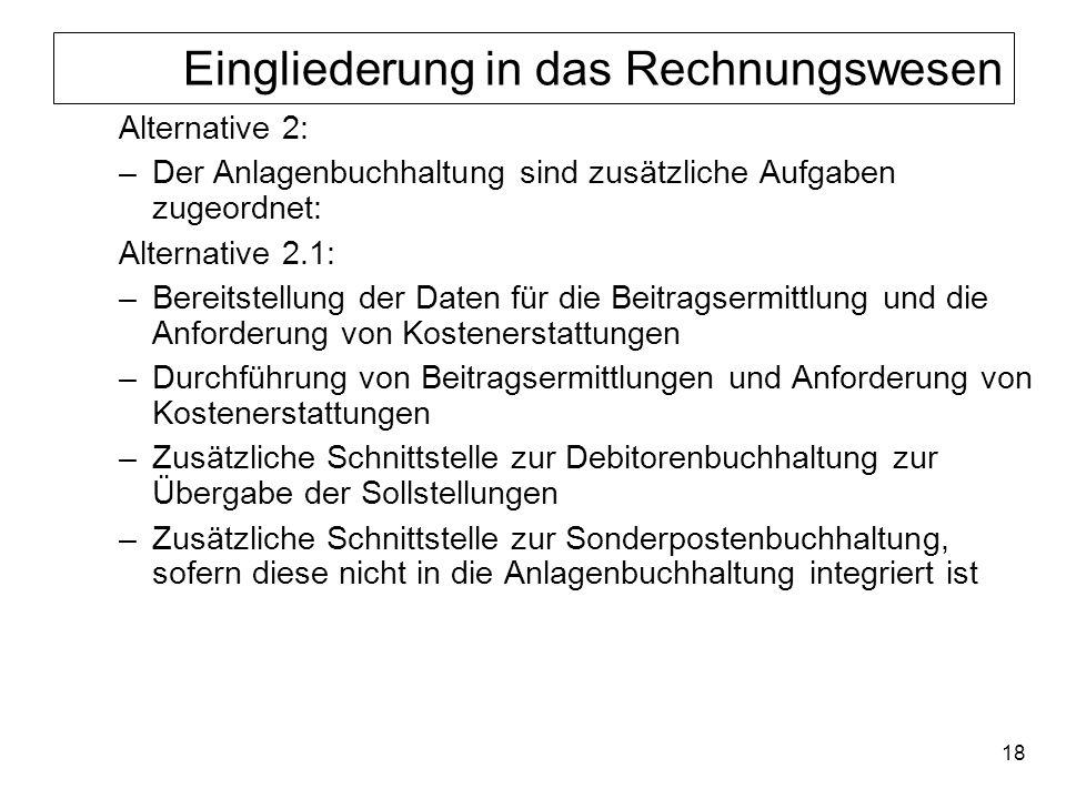 18 Eingliederung in das Rechnungswesen Alternative 2: –Der Anlagenbuchhaltung sind zusätzliche Aufgaben zugeordnet: Alternative 2.1: –Bereitstellung d