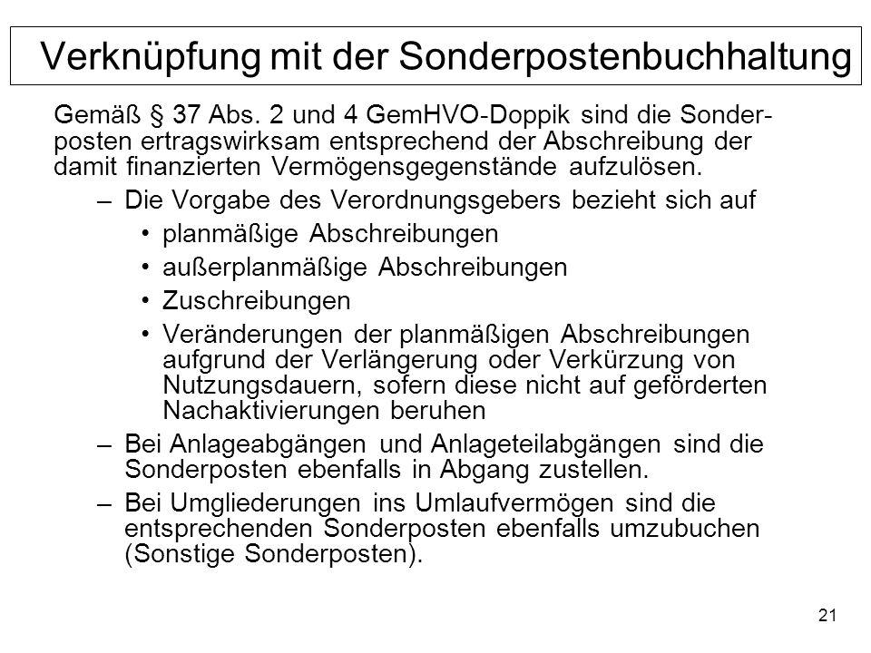 21 Verknüpfung mit der Sonderpostenbuchhaltung Gemäß § 37 Abs. 2 und 4 GemHVO-Doppik sind die Sonder- posten ertragswirksam entsprechend der Abschreib