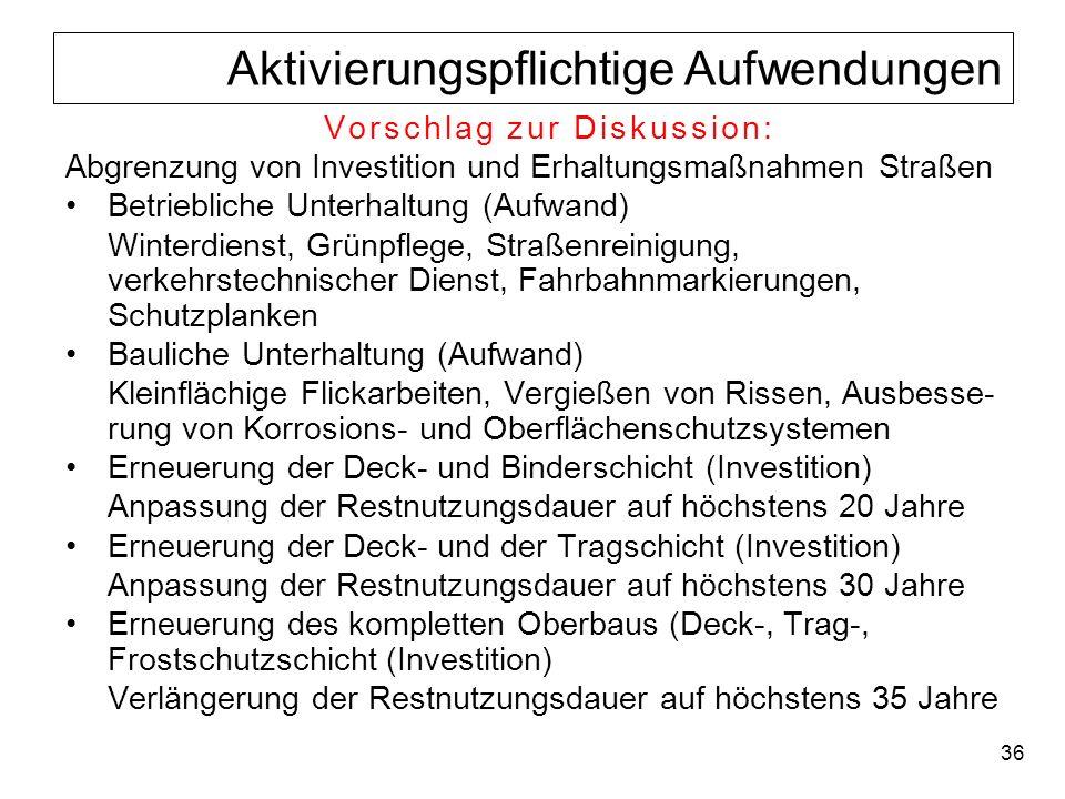 36 Aktivierungspflichtige Aufwendungen Vorschlag zur Diskussion: Abgrenzung von Investition und Erhaltungsmaßnahmen Straßen Betriebliche Unterhaltung