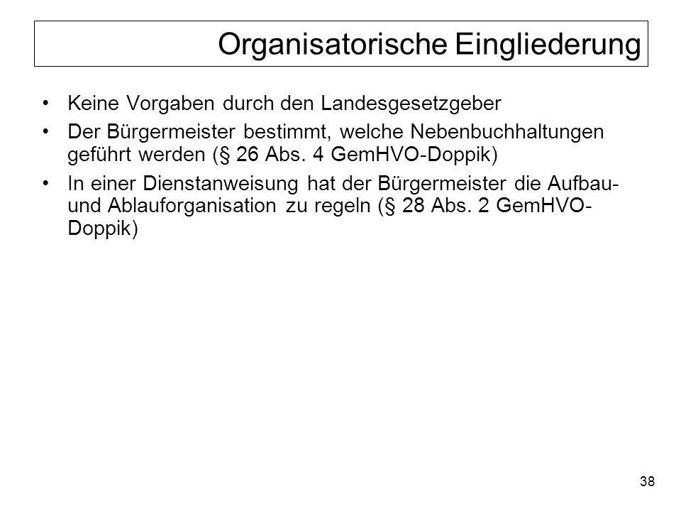 38 Organisatorische Eingliederung Keine Vorgaben durch den Landesgesetzgeber Der Bürgermeister bestimmt, welche Nebenbuchhaltungen geführt werden (§ 2