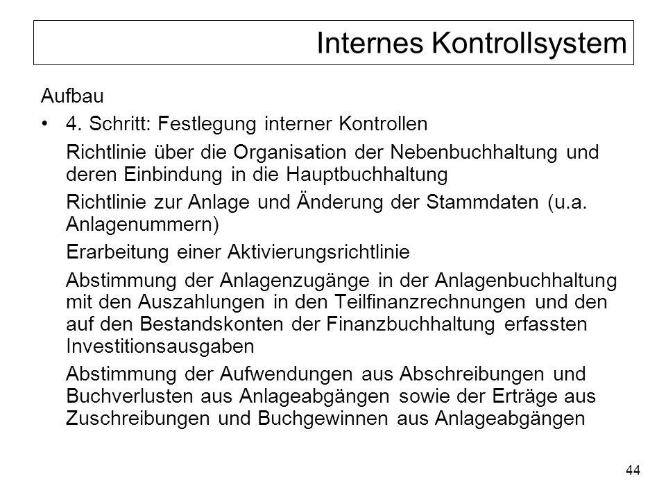 44 Internes Kontrollsystem Aufbau 4. Schritt: Festlegung interner Kontrollen Richtlinie über die Organisation der Nebenbuchhaltung und deren Einbindun