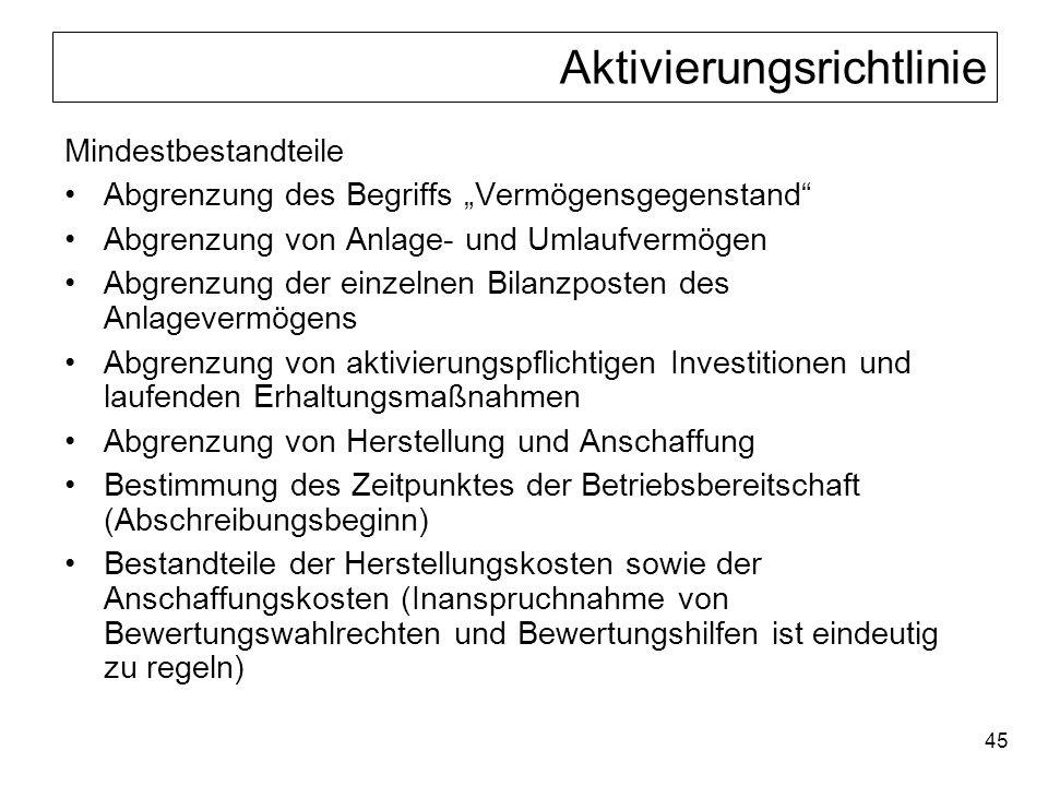 45 Aktivierungsrichtlinie Mindestbestandteile Abgrenzung des Begriffs Vermögensgegenstand Abgrenzung von Anlage- und Umlaufvermögen Abgrenzung der ein