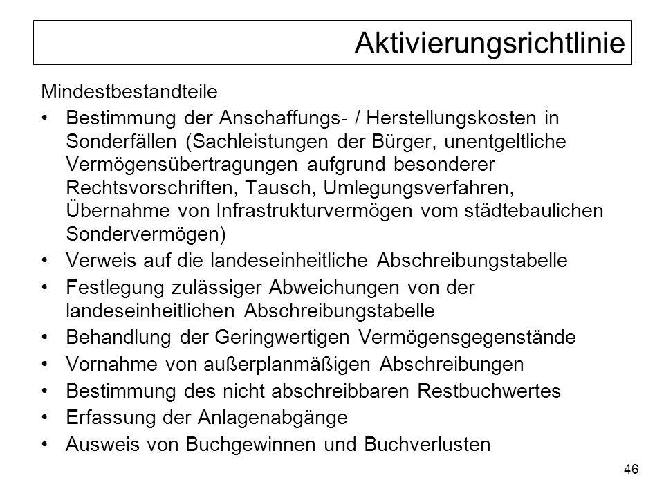 46 Aktivierungsrichtlinie Mindestbestandteile Bestimmung der Anschaffungs- / Herstellungskosten in Sonderfällen (Sachleistungen der Bürger, unentgeltl
