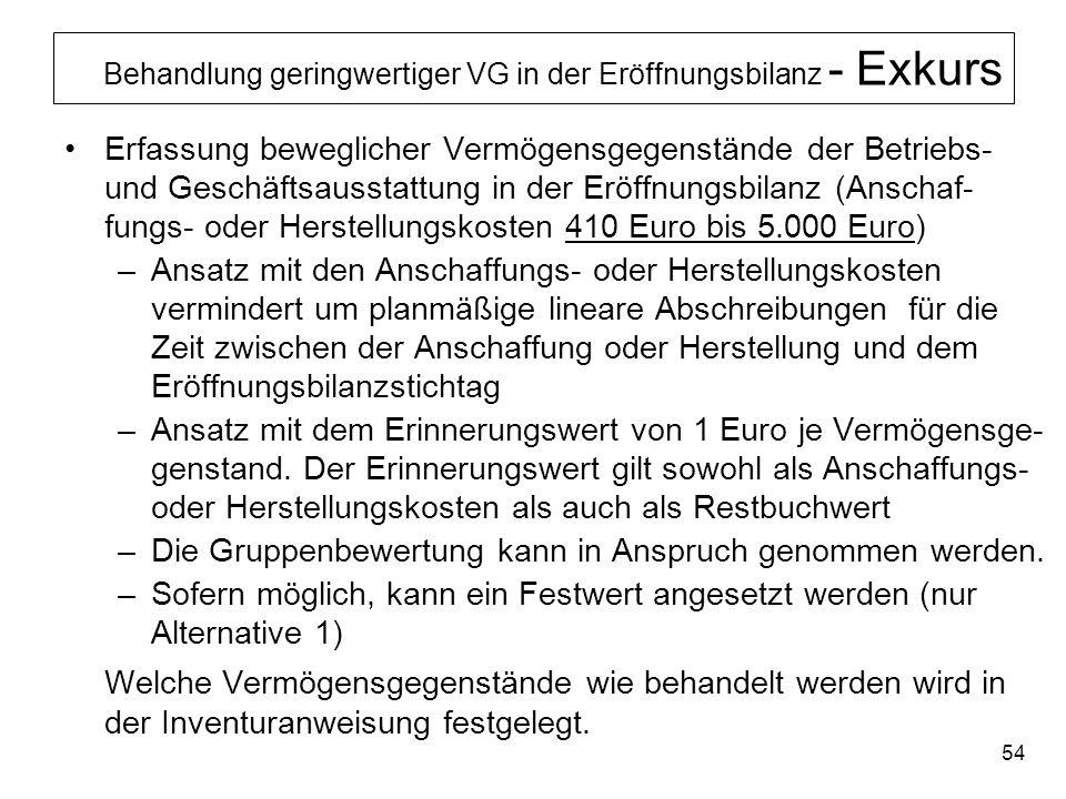 54 Behandlung geringwertiger VG in der Eröffnungsbilanz - Exkurs Erfassung beweglicher Vermögensgegenstände der Betriebs- und Geschäftsausstattung in
