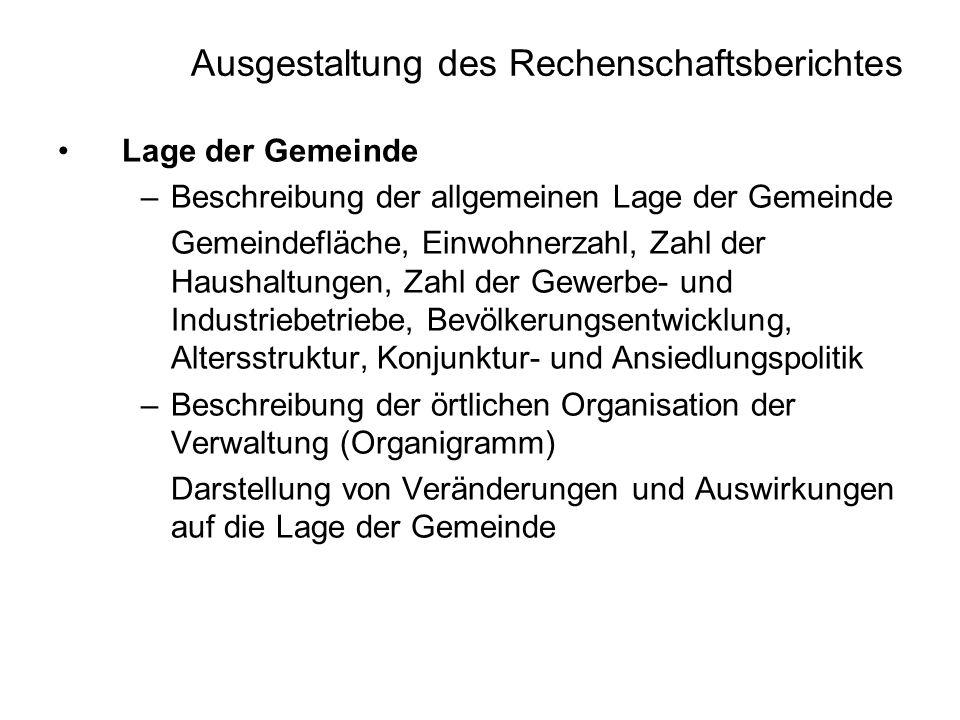 Ausgestaltung des Rechenschaftsberichtes Lage der Gemeinde –Beschreibung der allgemeinen Lage der Gemeinde Gemeindefläche, Einwohnerzahl, Zahl der Hau