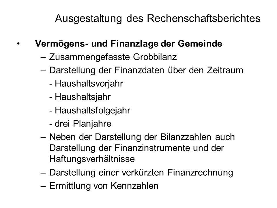 Ausgestaltung des Rechenschaftsberichtes Vermögens- und Finanzlage der Gemeinde –Zusammengefasste Grobbilanz –Darstellung der Finanzdaten über den Zei