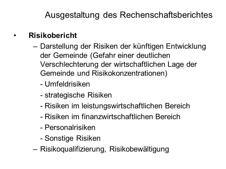 Ausgestaltung des Rechenschaftsberichtes Risikobericht –Darstellung der Risiken der künftigen Entwicklung der Gemeinde (Gefahr einer deutlichen Versch