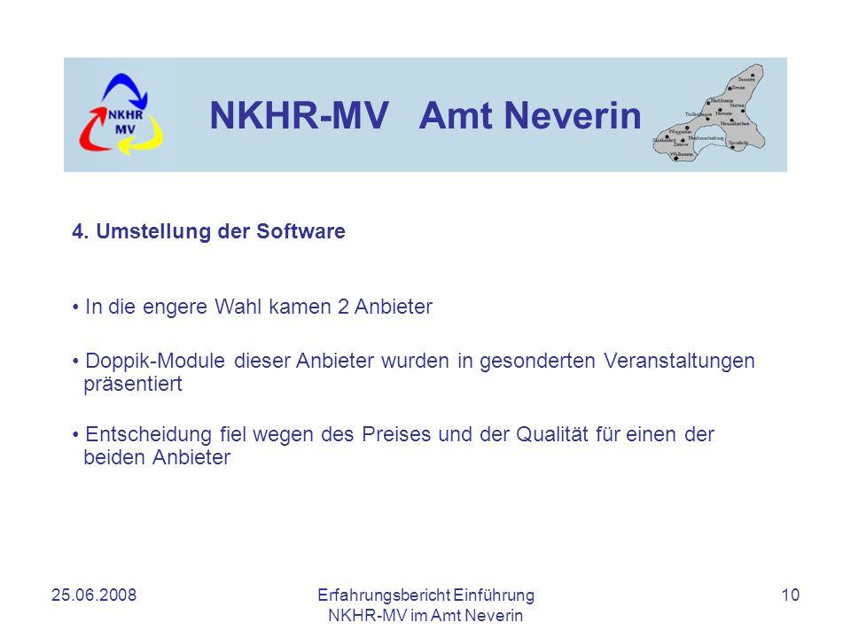 25.06.2008Erfahrungsbericht Einführung NKHR-MV im Amt Neverin 10 NKHR-MV Amt Neverin 4. Umstellung der Software In die engere Wahl kamen 2 Anbieter Do