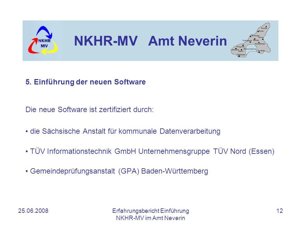 25.06.2008Erfahrungsbericht Einführung NKHR-MV im Amt Neverin 12 NKHR-MV Amt Neverin 5. Einführung der neuen Software Die neue Software ist zertifizie