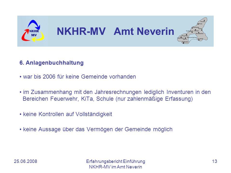 25.06.2008Erfahrungsbericht Einführung NKHR-MV im Amt Neverin 13 NKHR-MV Amt Neverin war bis 2006 für keine Gemeinde vorhanden im Zusammenhang mit den