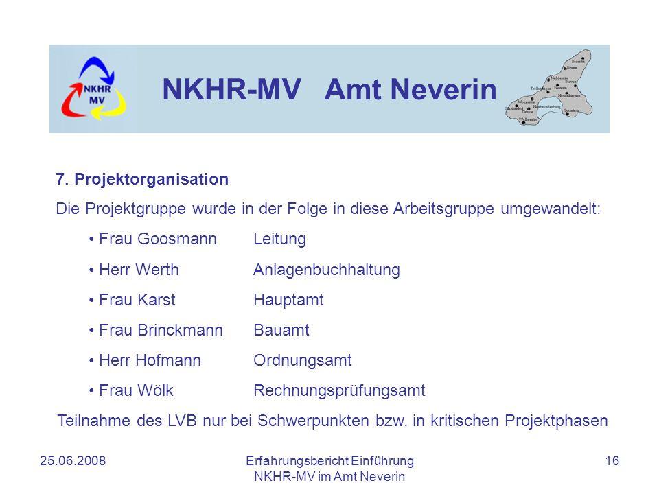 25.06.2008Erfahrungsbericht Einführung NKHR-MV im Amt Neverin 16 NKHR-MV Amt Neverin Die Projektgruppe wurde in der Folge in diese Arbeitsgruppe umgew