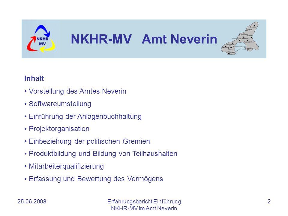 25.06.2008Erfahrungsbericht Einführung NKHR-MV im Amt Neverin 2 NKHR-MV Amt Neverin Inhalt Vorstellung des Amtes Neverin Softwareumstellung Einführung