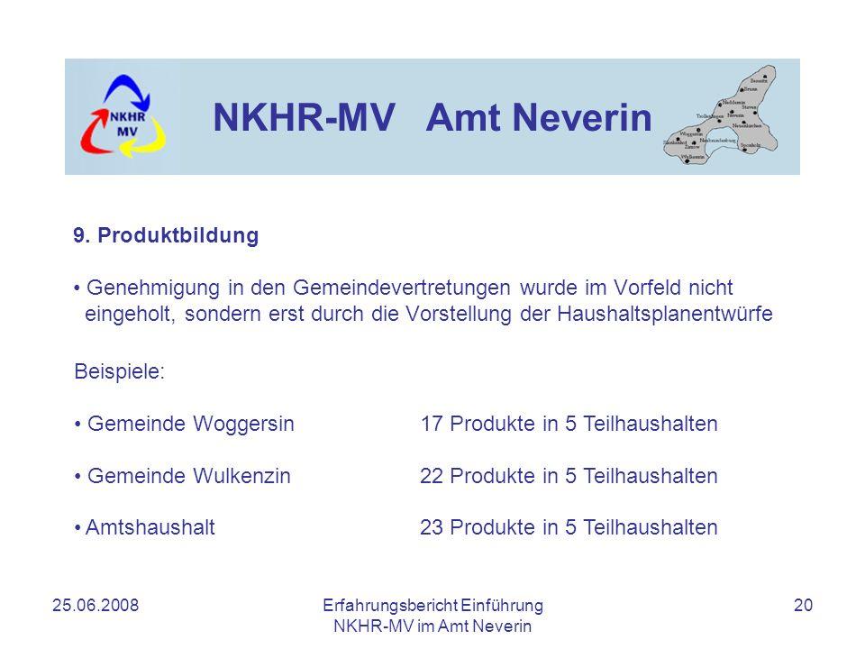 25.06.2008Erfahrungsbericht Einführung NKHR-MV im Amt Neverin 20 NKHR-MV Amt Neverin Genehmigung in den Gemeindevertretungen wurde im Vorfeld nicht ei