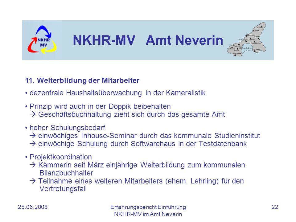 25.06.2008Erfahrungsbericht Einführung NKHR-MV im Amt Neverin 22 NKHR-MV Amt Neverin dezentrale Haushaltsüberwachung in der Kameralistik Prinzip wird