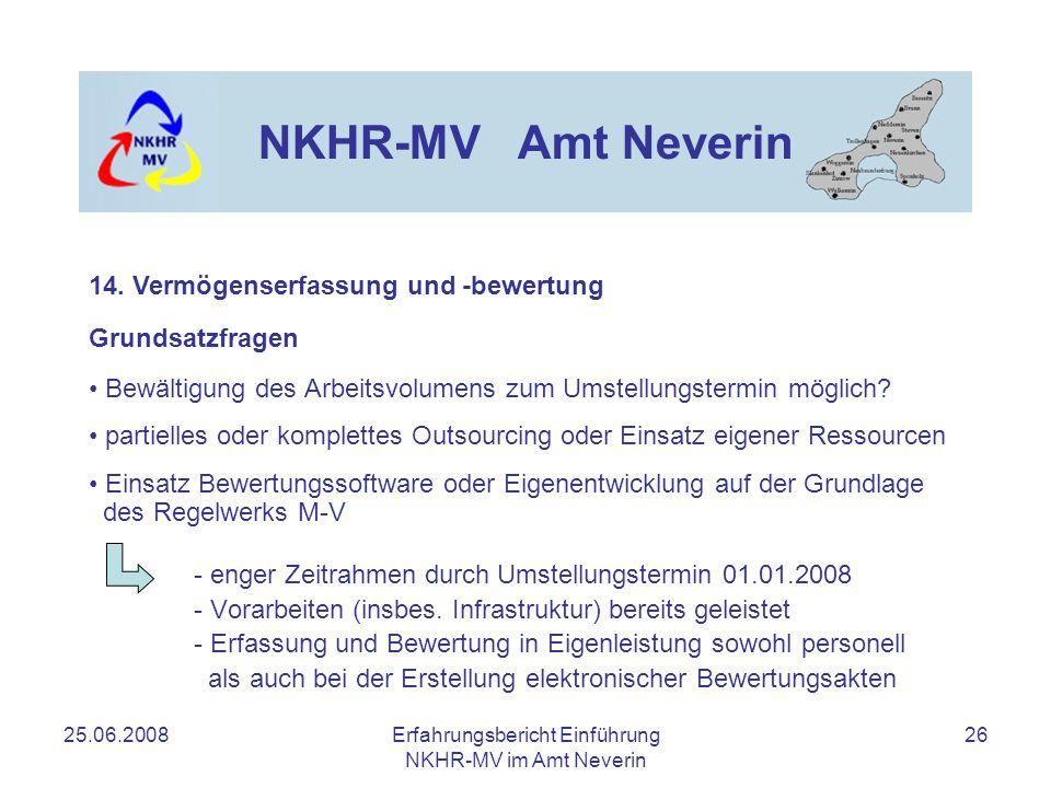 25.06.2008Erfahrungsbericht Einführung NKHR-MV im Amt Neverin 26 NKHR-MV Amt Neverin Grundsatzfragen Bewältigung des Arbeitsvolumens zum Umstellungste