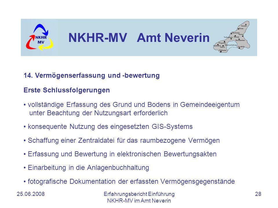 25.06.2008Erfahrungsbericht Einführung NKHR-MV im Amt Neverin 28 NKHR-MV Amt Neverin Erste Schlussfolgerungen vollständige Erfassung des Grund und Bod