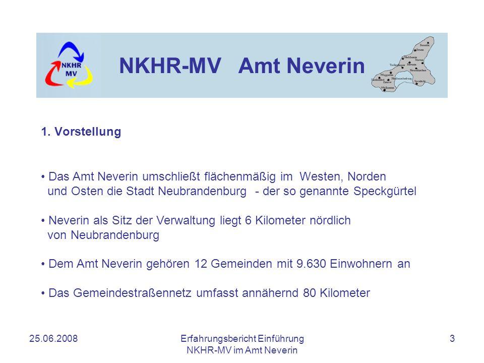 25.06.2008Erfahrungsbericht Einführung NKHR-MV im Amt Neverin 3 NKHR-MV Amt Neverin 1. Vorstellung Das Amt Neverin umschließt flächenmäßig im Westen,